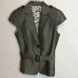 Tahari grey cap sleeve blazer size 4